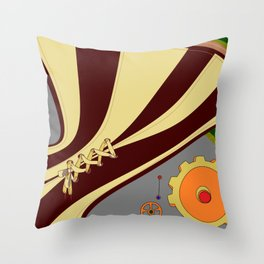 A Steampunk Style Laced Garment with Cog and Gear Throw Pillow