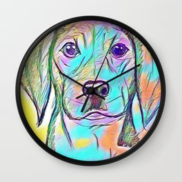 Color Dog Wall Clock