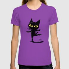 Dancing Cat MEDIUM Womens Fitted Tee Ultraviolet