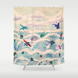 Flying fish in abstract sea Shower Curtain