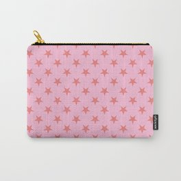 Coral Pink on Cotton Candy Pink Stars Carry-All Pouch