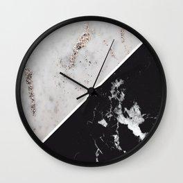 White Glitter Marble Meets Black Marble #1 #decor #art #society6 Wall Clock