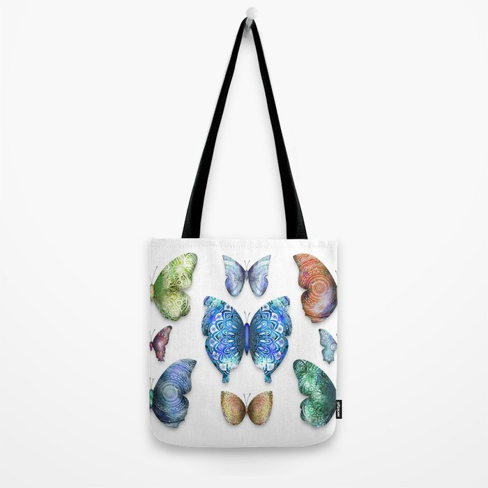 Butterfly Taxidermy // Beautiful Mandala Detailed Wings Design // Lime Green, Bright Blue, Gold Tote Bag