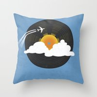 records Throw Pillows featuring Sunburst Records by Dianne Delahunty