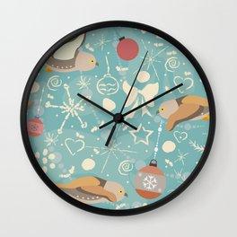 Winter Owls Wall Clock