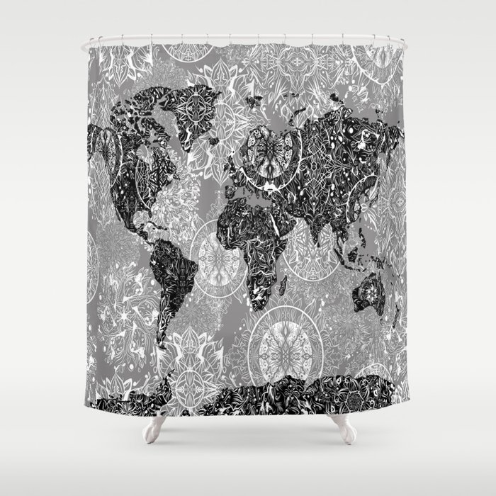 World map mandala black and white 1 shower curtain by bekimart world map mandala black and white 1 shower curtain gumiabroncs Gallery