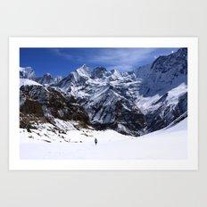 Hiker In Mountain Landscape Art Print