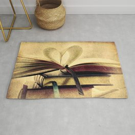 Book Heart Library Modern Cottage Chic Modern Country Art A448 Rug