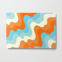 Vintage Summer Palette Mid-Century Minimalist Waves Abstract Art Metal Print
