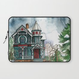 Blue House on a Grey Day Laptop Sleeve