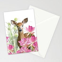 little Deer in lotos Flower Field Stationery Cards