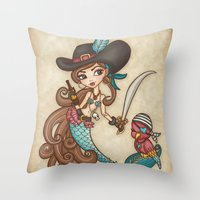 sword Throw Pillows featuring Parrot's Sword by tsai-fi