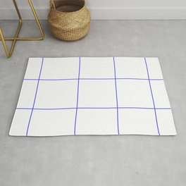 Blue Lines White Polygons Rug
