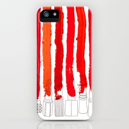 Lipstick Stripes - Red Shades iPhone Case