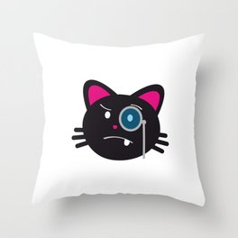 One Tooth Black Cat Kitten Face with Monocle Throw Pillow