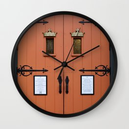 Orange Church Doors Wall Clock