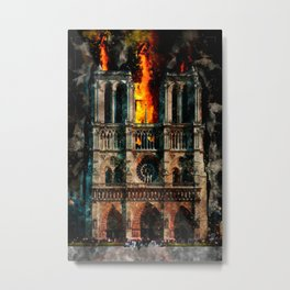 Notre Dame Cathedral on fire Metal Print