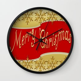 Red Merry Christmas Banner On Gold With Snowflakes  Wall Clock