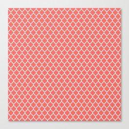 Coral White Quatrefoil Pattern Canvas Print