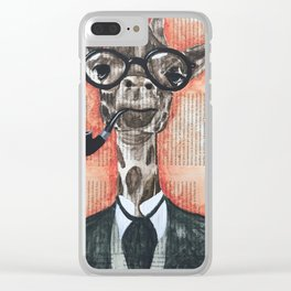 giraffe gentleman Clear iPhone Case
