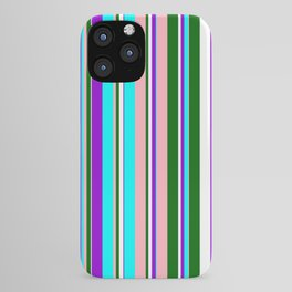 Eye-catching Dark Violet, Cyan, Light Pink, Dark Green, and White Colored Lined Pattern iPhone Case