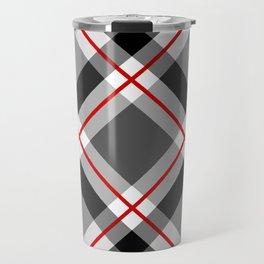 Large Modern Plaid, Black, White, Gray and Red Travel Mug
