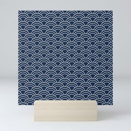 Waves / Japanese / Navy blue Mini Art Print