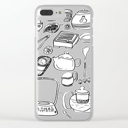 Chinese Tea Doodles 2 Clear iPhone Case