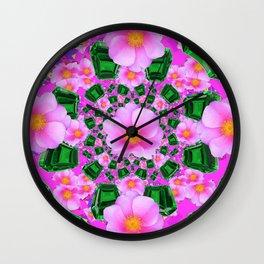 May Babies Emerald Gems & Pink Roses Wall Clock