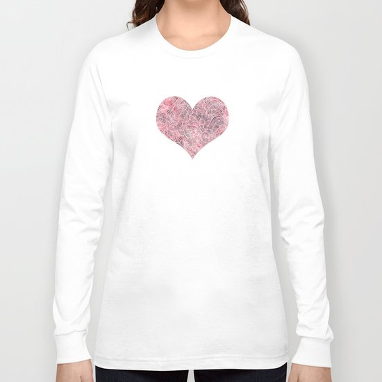Burgundy red and white swirls doodles Long Sleeve T-shirt