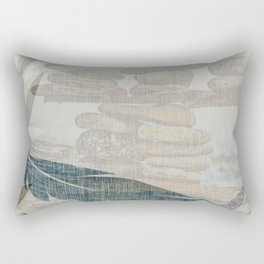 Zen Stacked Rocks on Beach Graphic Feathers and Branches Rectangular Pillow