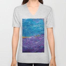 Purple/Blue Abstract Unisex V-Neck