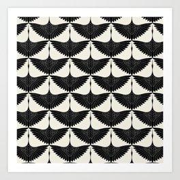 CRANE DESIGN - pattern - Black and White Art Print