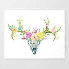 Watercolor Deer Skull Rose Bouquet Canvas Print