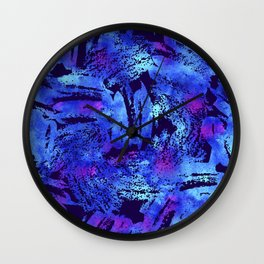 Blue violet cool brush Wall Clock
