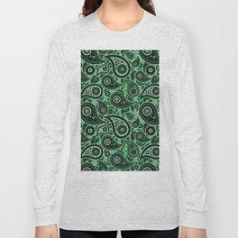 Emerald Green Paisley Pattern Long Sleeve T-shirt