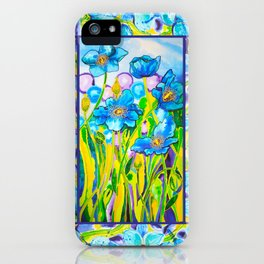 Blue Poppies 2 with Border iPhone Case