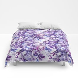 Dragonfly Lullaby in Pantone Ultraviolet Purple Comforters