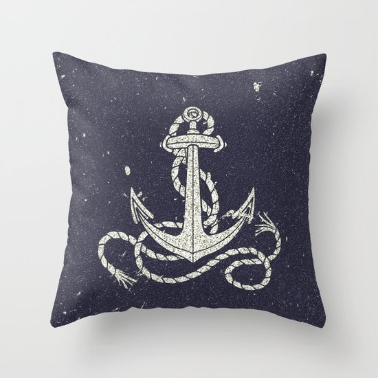 Navy Blue Nautical White Anchor for Sailor Texture Throw Pillow