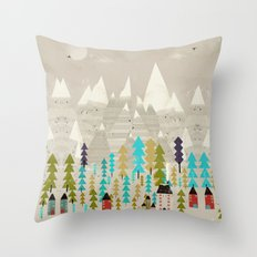 happy in the mountains Throw Pillow