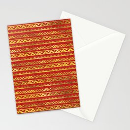 Geometric Lines Tribal  gold on red leather Stationery Cards