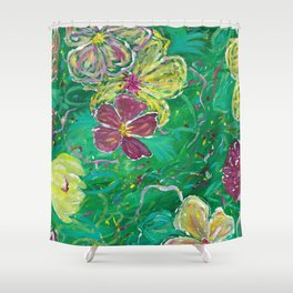 Green Abstract Painting Shower Curtain