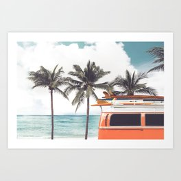 Vintage car parked on the tropical beach (seaside) with a surfboard on the roof - Leisure trip in the summer. retro color effect Art Print