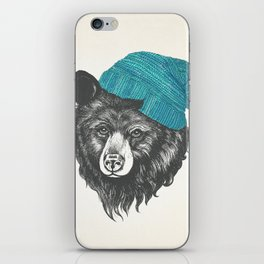 bear in blue iPhone Skin