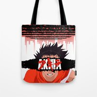 akira Tote Bags featuring AKIRA - Tetsuo by Paul Scott (Dracula is Still a Threat)