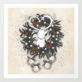White Deer In The Christmas Wreath Art Print