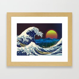 Synthwave Space #9: The Great Wave off Kanagawa Framed Art Print