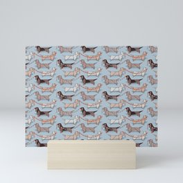 Origami Dachshunds sausage dogs // pale blue background Mini Art Print