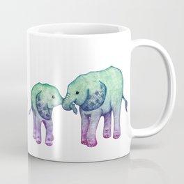 Baby Elephant Love - ombre mint & purple Coffee Mug