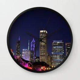 Chicago skyline and Buckingham Fountain at night. Wall Clock